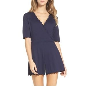 French Connection 'Beau' Scalloped Navy Romper